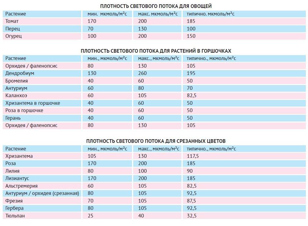 Таблица значений PPFD для некоторых растений