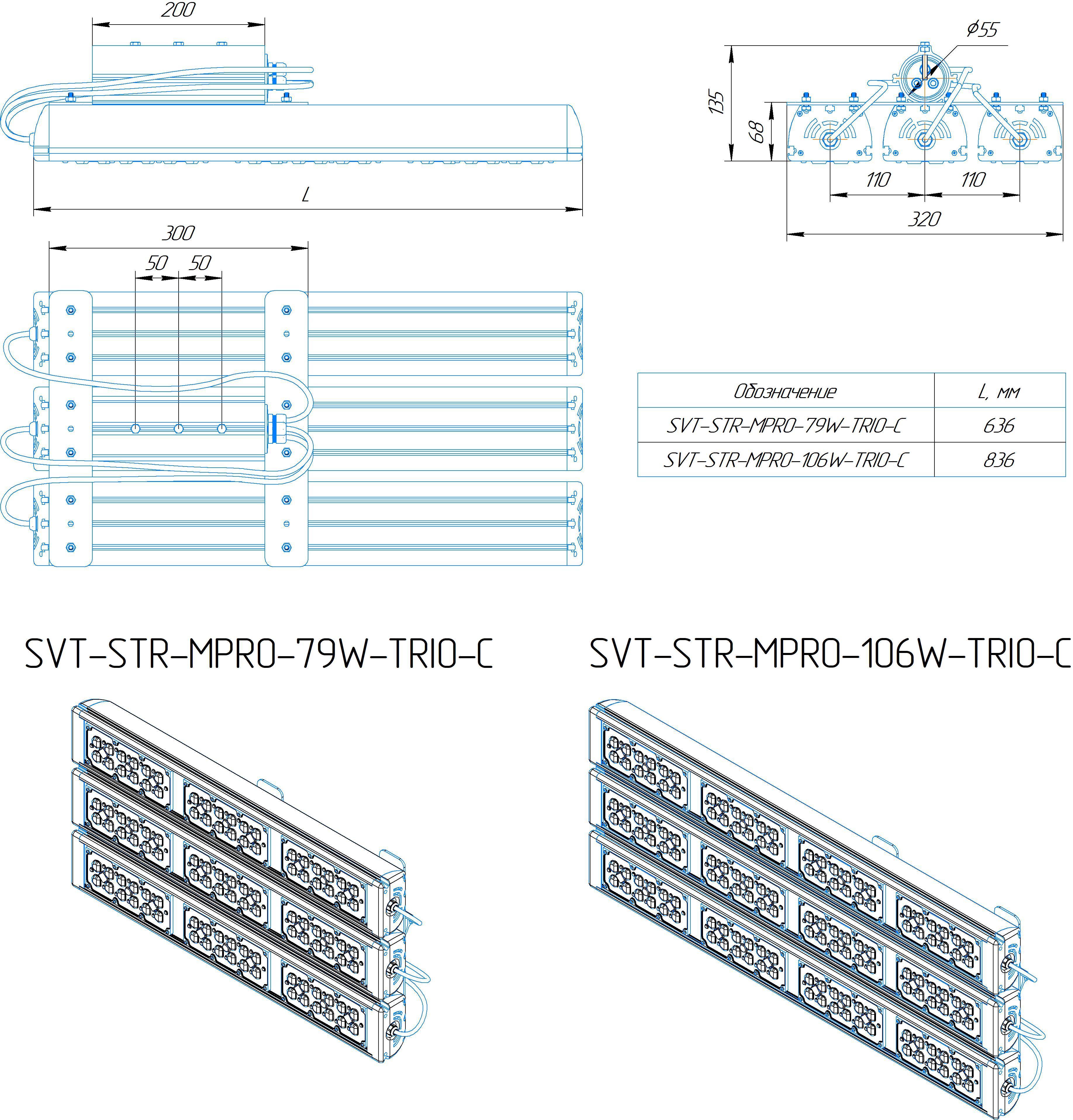 Промышленный светильник Модуль PRO SVT-STR-MPRO-102Вт-45x140-TRIO-C