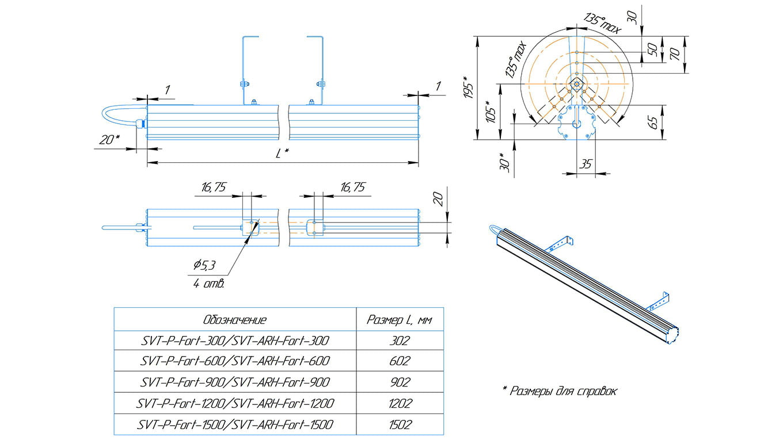 Светильник линейный архитектурный Форт SVT-ARH-Fort-1200-52Вт-25