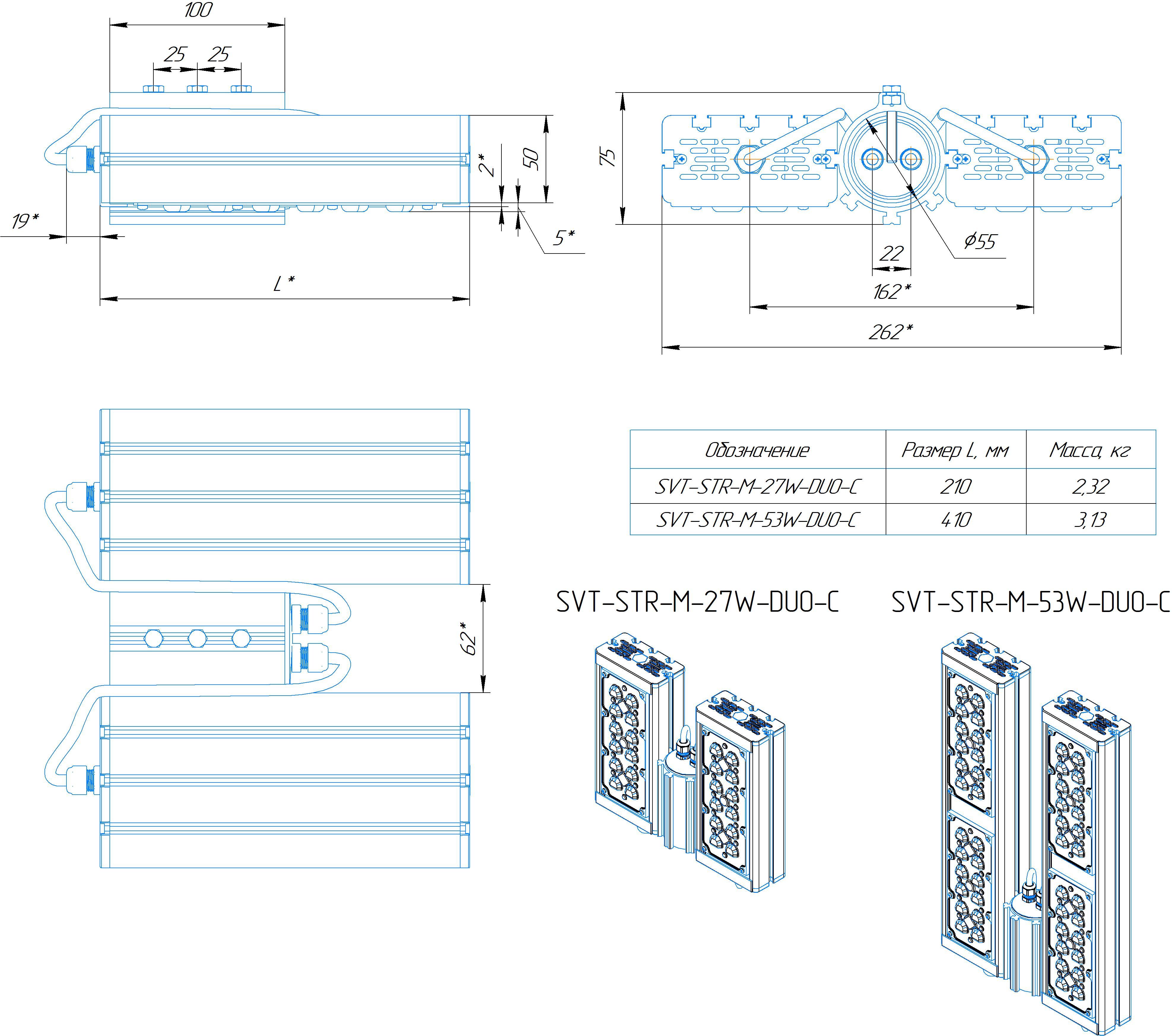 Промышленный прожектор Модуль SVT-STR-M-53Вт-45x140-DUO-С