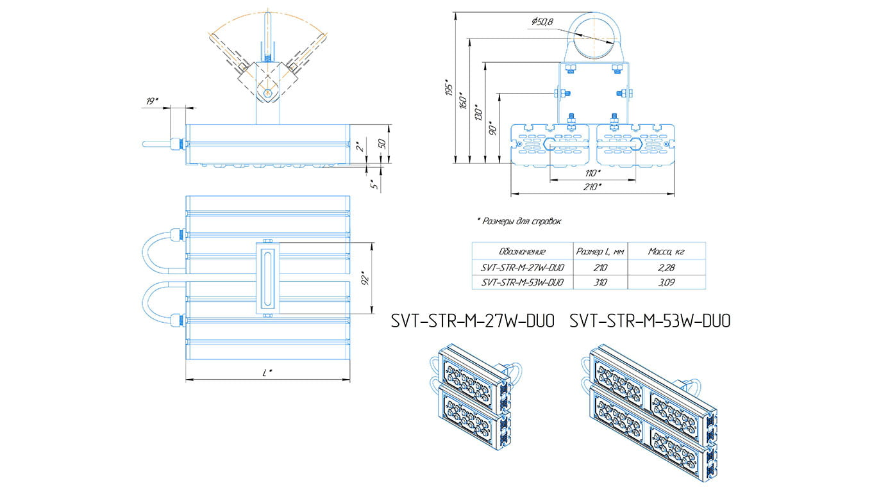 Промышленный прожектор Модуль SVT-STR-M-27Вт-12-DUO