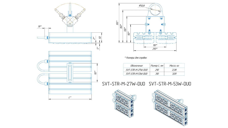 Промышленный прожектор Модуль SVT-STR-M-53Вт-45x140-DUO (с защитой от 380)