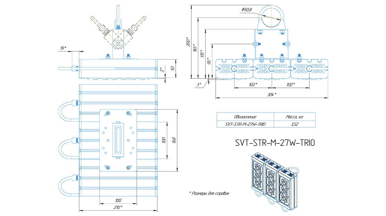 Промышленный прожектор Модуль SVT-STR-M-27Вт-45x140-TRIO