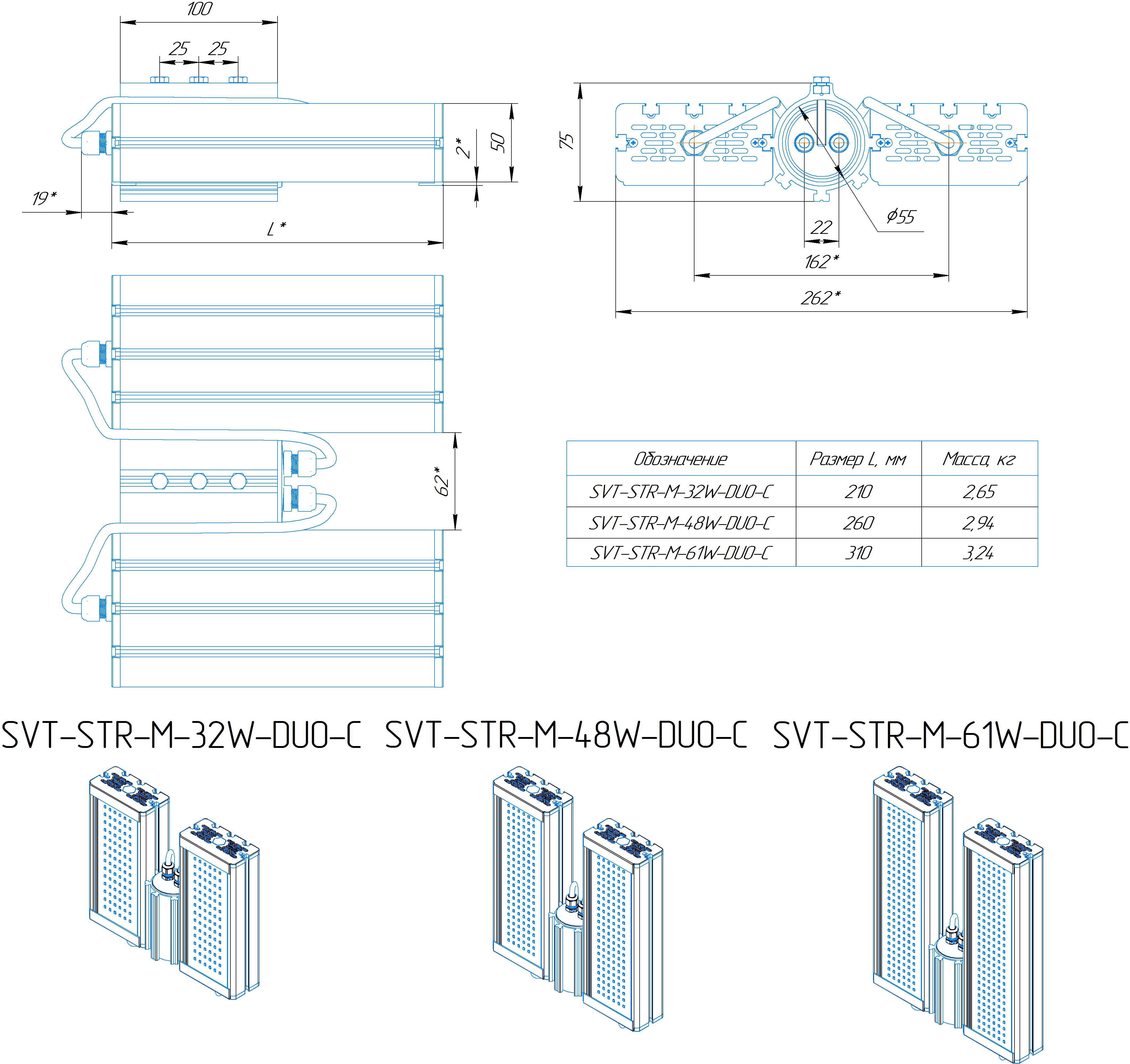 Промышленный светильник Модуль SVT-STR-M-48Вт-DUO-C (с защитой от 380)