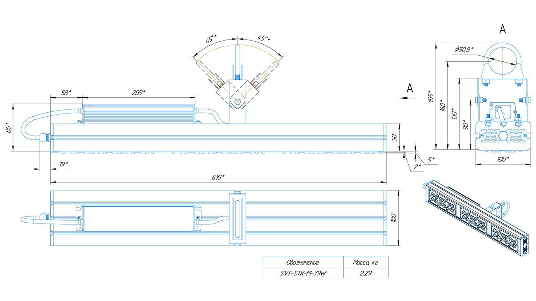 Промышленный прожектор Модуль SVT-STR-M-79Вт-45x140