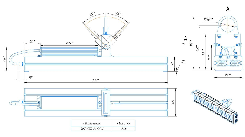 Промышленный светильник Модуль SVT-STR-M-96Вт