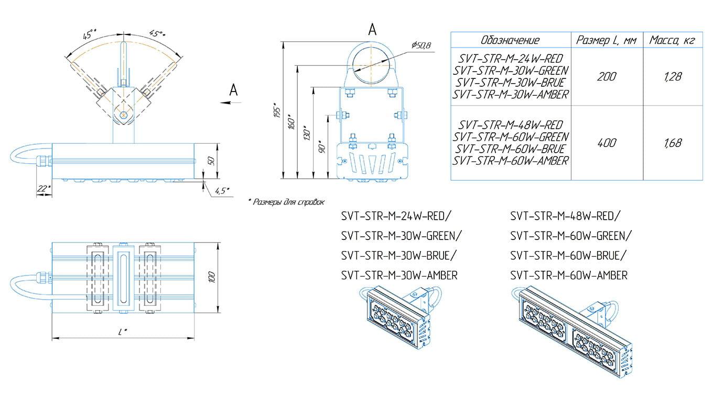 Прожектор с оптикой янтарный SVT-STR-M-60Вт-12-AMBER
