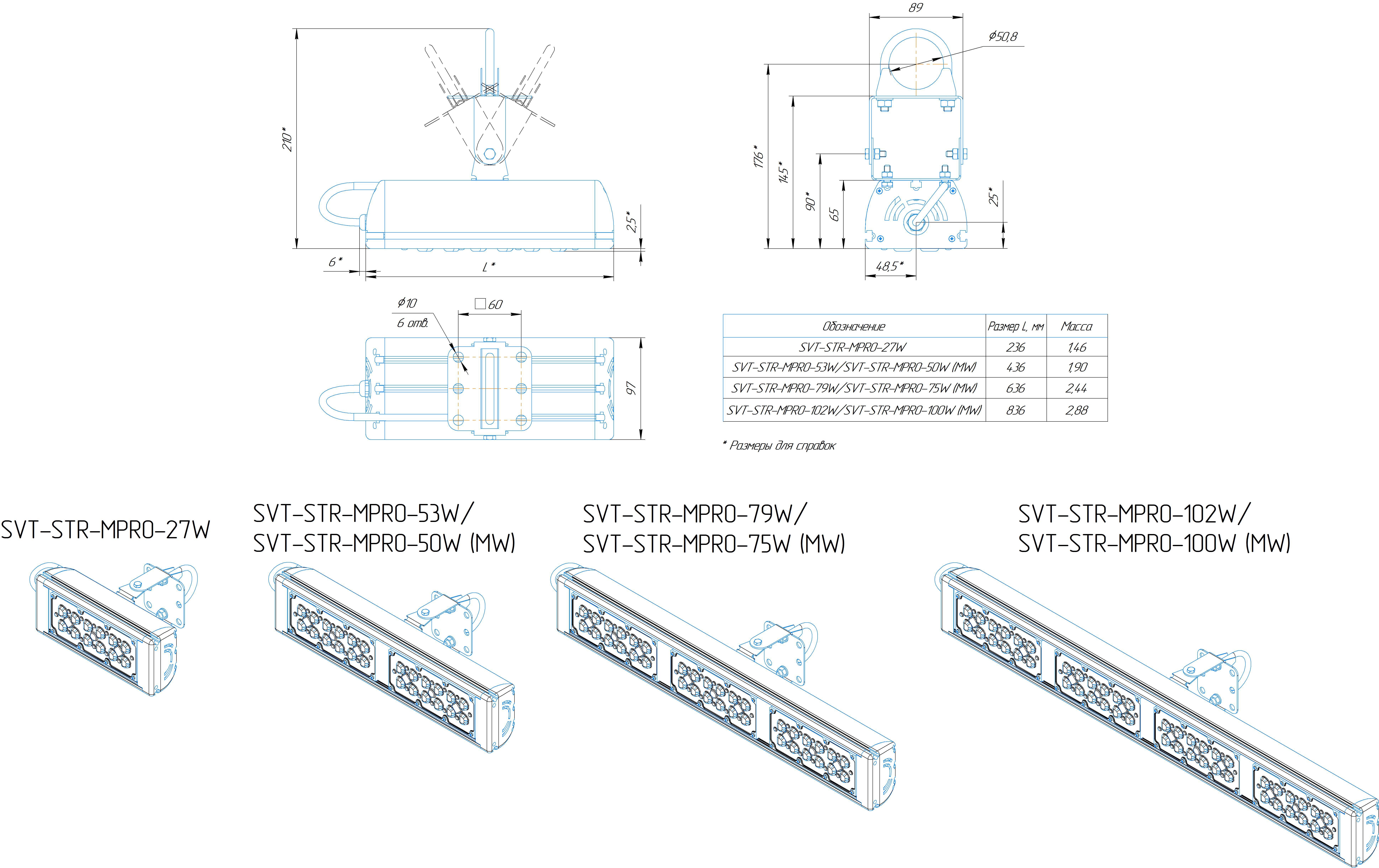 Промышленный светильник Модуль PRO SVT-STR-MPRO-53Вт-45x140