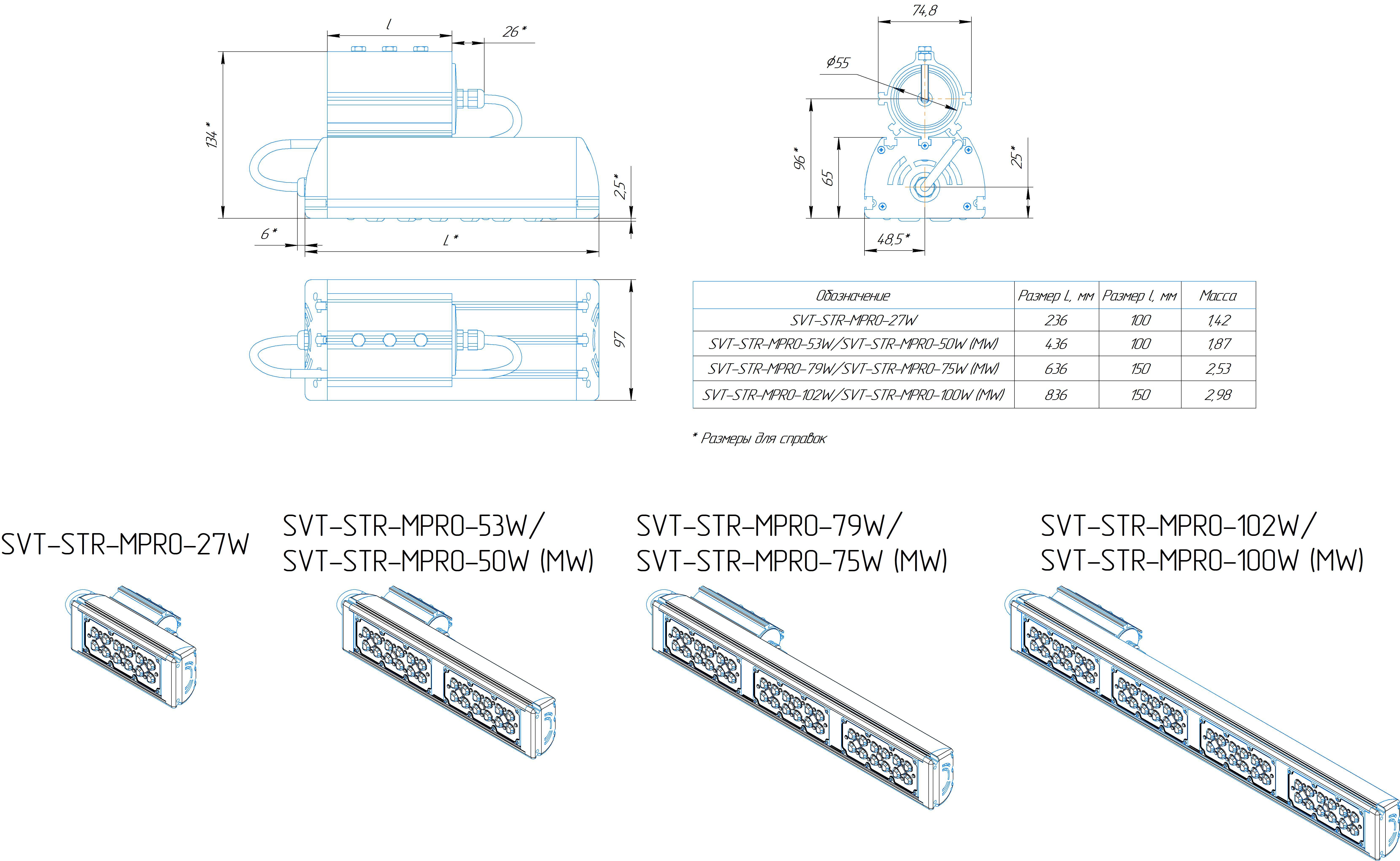 Промышленный светильник Модуль PRO SVT-STR-MPRO-79Вт-45x140-C